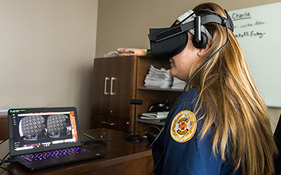 Nursing student using a virtual reality headset
