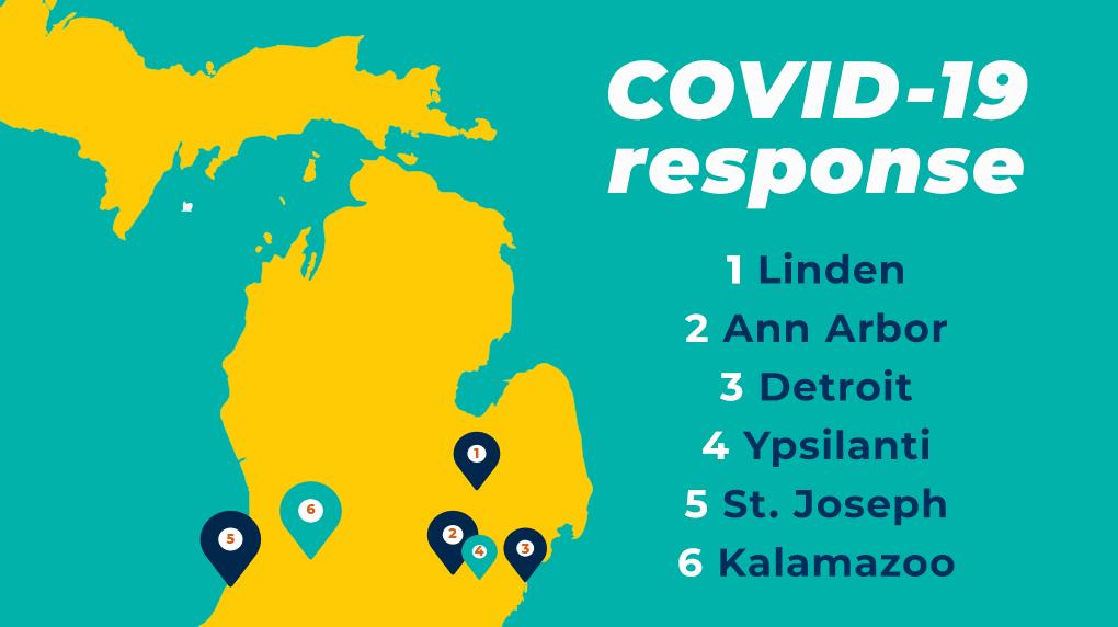 COVID-19 Response. 1 Linden, 2 Ann Arbor, 3 Detroit, 4 Ypsilanti, 5 St. Joseph, 6 Kalamazoo