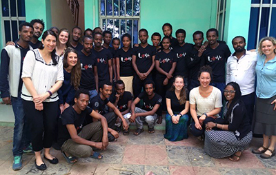 Munro-Kramer and the UMSN group with Aksum University Community Health Nursing students in Ethiopia