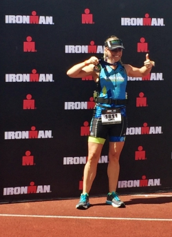 Bigelow celebrating the completion of a Half Ironman