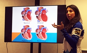 El Aile giving a presentation on arrhythmias