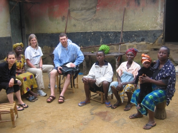 Dr. Lori and UMSN students conducting a home visit in Liberia