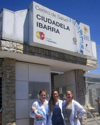 Ecuador: Students outside of a local clinic