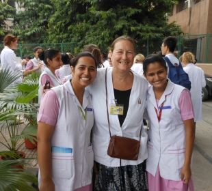 Clinical Instructor Amber Dallwig with students from Salokaya College of