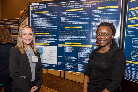 The poster of Honors student Jenna Frega and Assistant Professor Massy Mutumba shows one of many student/faculty collaborations