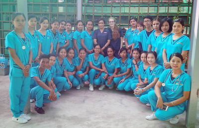 Michelazzo Ceroni with nursing students in Myanmar