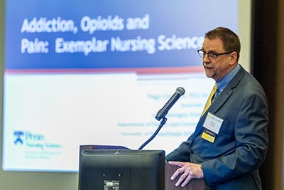 Strobbe presenting at UMSN's annual Research Day