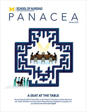 Magazine cover with people sitting at a table in a maze.