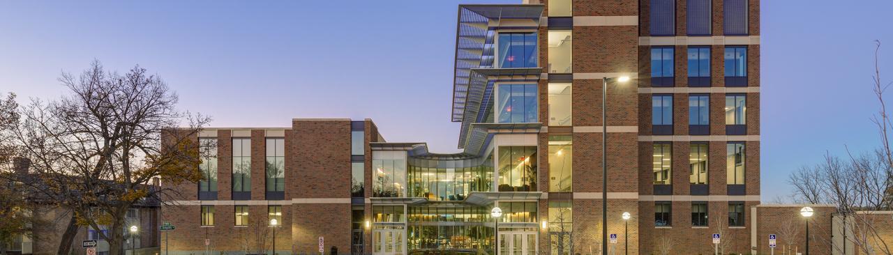 University of Michigan School of Nursing building at sunset
