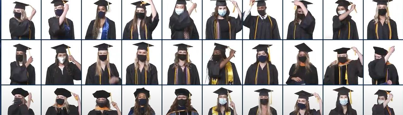 Collage of graduates moving cap tassels