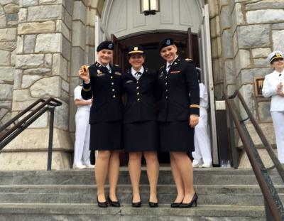 Perrin and her sisters at the commissioning ceremony for her youngest sister in 2016.