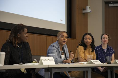 Fladger (2nd from right) was recently a panelist for a UMSN event focused on decreasing maternal mortality
