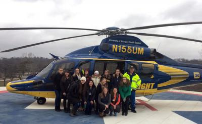 SNA members learning about careers with Survival Flight