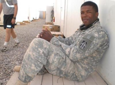 Thompson during a moment of respite in Iraq
