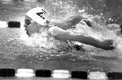 Tschannen during the early years of her swimming career