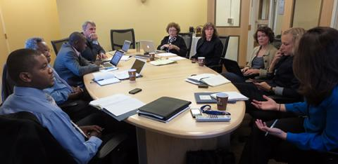 Alain Mukwege (bottom left) during 2013 planning meeting at UMSN