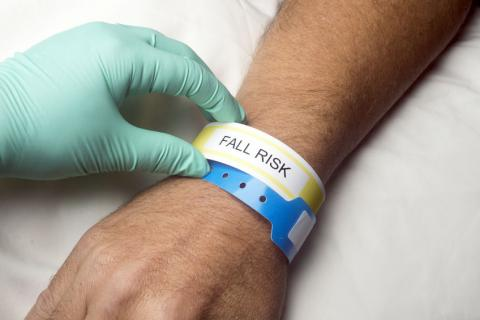 Hospital wristband showing Fall Risk
